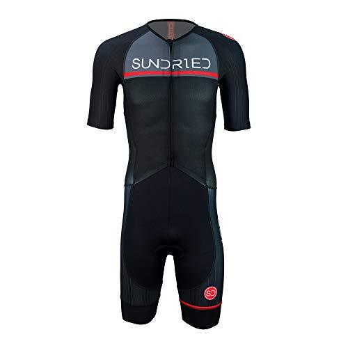 Sundried Mens Pro Trisuit Short Sleeve Triathlonanzug am besten für Ironman Rennen Tri Suit (schwarz, XL)