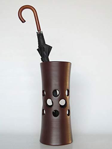POLONIO - Paraguero de Cerámica - 50 cm - Paraguero o Bastonero Perforado para Entrada y Pasillo - Color Chocolate Mate