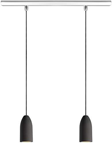 Buchenbusch Urban Design Dark Edition, Set 2 Lampade a sospensione paralume in calcestruzzo con lampadina LED A+, stile industriale, cavo nero