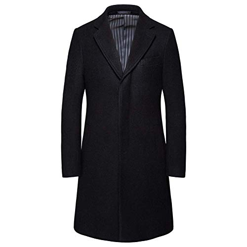 ZWLXY Mens Trench Coat Herbst-Winter-Lange Jacke Overcoat,Schwarz,L