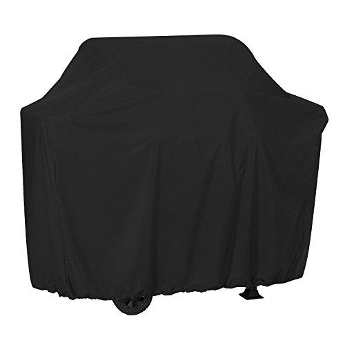 Dokon Barbecue Cover with Adjustable Side Straps, Waterproof, Windproof, Anti-UV, Heavy Duty Rip Proof 420D Oxford Fabric Grill BBQ Cover for Weber, Brinkmann, Char Broil etc 170 x 61 x 117cm - Black