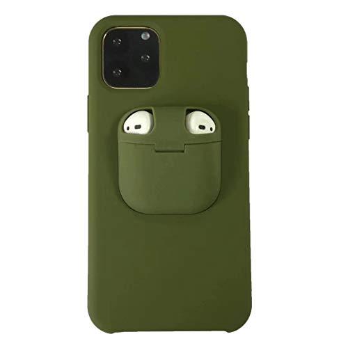 Dmtrab para Para iPhone 11 Funda Protectora a Prueba de Golpes de Silicona líquida con Caja de Apple AirPods (Naranja) (Color : Dark Green)
