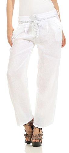 Mississhop 269 Damen Leinenhose Freizeithose 100% Leinen Hose Elegante Stoffhose Weiß M