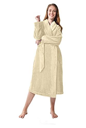 RAIKOU Peignoir Femme Doux en Microfibre Peignoir Robe de Chambre en Polaire Femme Chaud Manches Longues Doux Peignoir de Bain avec Poches et Ceinture (L,Champagne A)
