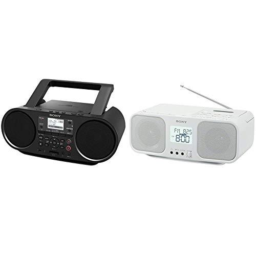 【セット買い】ソニー CDラジオ Bluetooth/FM/AM/ワイドFM対応 語学学習用機能 電池駆動可能 ブラック ZS-RS81BT & CDラジオカセットレコーダー CFD-S401 : FM/AM/ワイドFM対応 大型液晶/カラオケ機能搭載 電池駆動可能 ホワイト CFD-S401 W