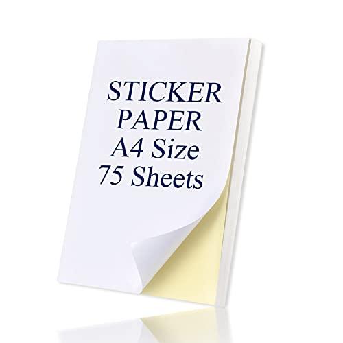 Universal Etiketten Selbstklebend 75 Blatt 210 x 297 mm, Druckerpapier A4 Aufkleber Papier Etikettendrucker Bedruckbar für Laser und Tintenstrahldrucker Drucker DIN A4 Etiketten Selbstklebend