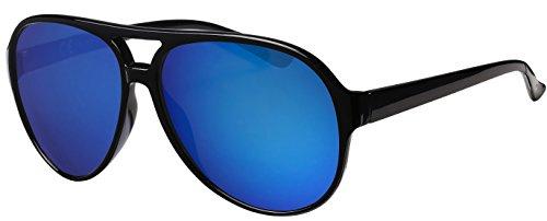 Sonnenbrille Herren Damen La Optica UV400 Retro Pilotenbrille Fliegerbrille - Glänzend Schwarz (Blau verspiegelt)