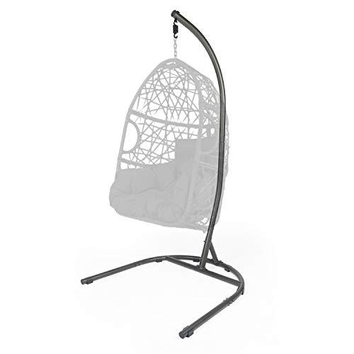 LAZZO Hammock Chair Stand, Indoor Outdoor C-Type Hanging Chair Stand, Heavy Duty Steel Solid Hammock Rack Stand for Hanging Chair,Loungers,Air Porch, Patio, Swing,Deck,Yard, 250lbs Capacity