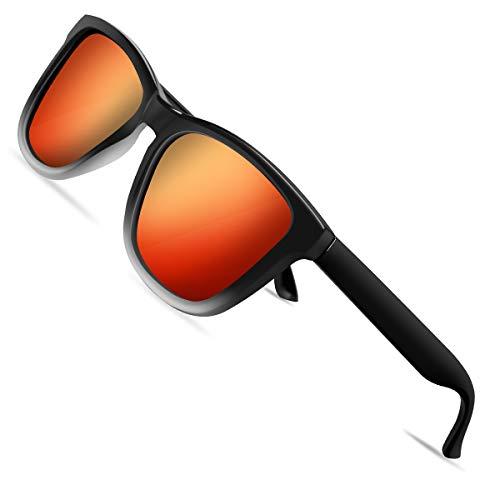 VVA Gafas de sol polarizadas para hombres Gafas de sol retro clásicas para hombres y mujeres para conducción al aire libre Protección unisex UV400 V105(Naranja/Negro)