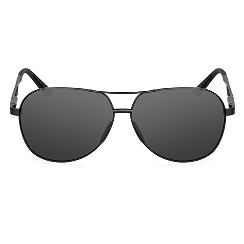 XXL extra large Round Aviator Polarized Sunglasses for big wide heads 150mm (black, black)