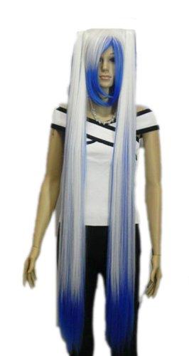 Qiyun Bleu Blanc Mixte Raide Longue Rapunzel Tangle Cheveux Complete Cosplay Anime Costume Perruque