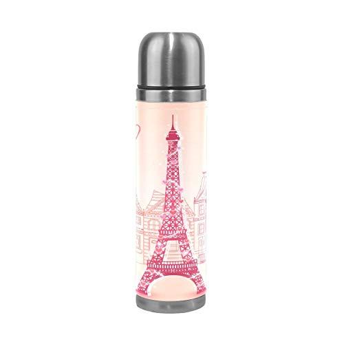Sawhonn Tour d'amour De Paris Bouteille d'eau en Acier Inoxydable Thermos sans BPA 500ML Double Paroi Vide Gourde Bouteille Isothermes pour Sport école Café Thé