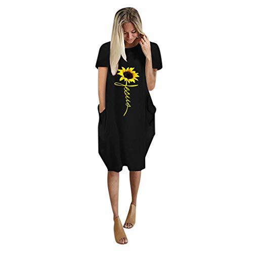 Auifor Damen Sonnenblume Druck Pocket Swing Mini Kleid, übergroße Baggy Pullover Kurzarm Sommerkleid(Schwarz,Small)
