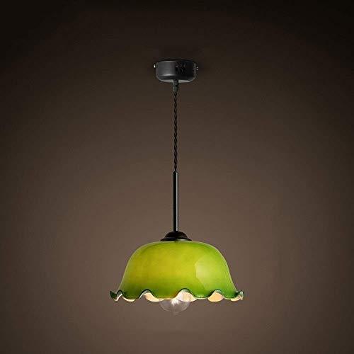MKKM Retro arte nostálgico araña creativa personalidad verde vidrio único cabeza restaurante araña sala de estar dormitorio creativo techo luz