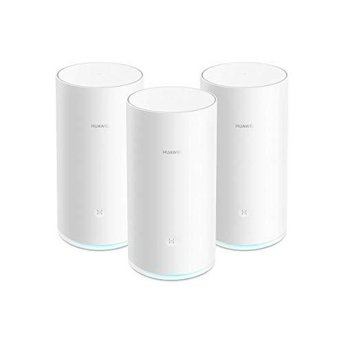 HUAWEI WiFi Mesh (3 Pack)- Router Mesh, Repetidor de wifi, Triple banda AC2200, CPU de cuatro núcleos 1.4GHz, Cobertura sólida y fiable en todo tu hogar(hasta 600 m²),Conexión con un toque, Blanco