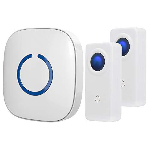 SadoTech White Wireless Doorbell Kit: Crosspoint Wireless Doorbells for Home with 2 Push Button Transmitters and 1 Receiver - Waterproof, Long Range Wireless Door Bell - Battery Operated Door Bells