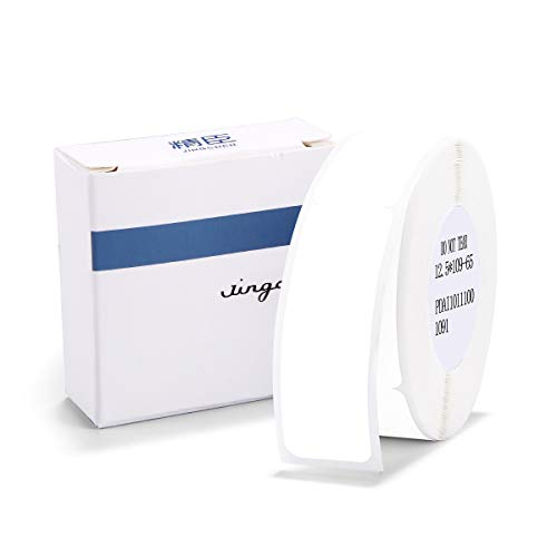 """Label Maker Tape NIIMBOT D11 0.5""""4.3"""" Cable Label Print Paper Standard Laminated Office Labeling Tape Replacement for D11 Handheld Label Machine Waterproof Tear Proof 1 Roll 65 Pcs White Cable"""