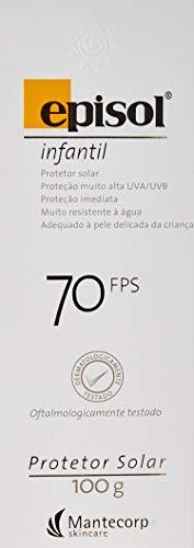 Protetor Solar Infantil FPS 70, 100g, Episol