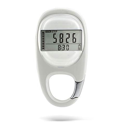 IOMOY Schrittzähler Tragbare 3D Digitale Schrittzähler Clip, Einfacher Schrittzähler Tracker mit Karabinerhaken Genau Verfolgen Schritte Und Kalorienverbrauch