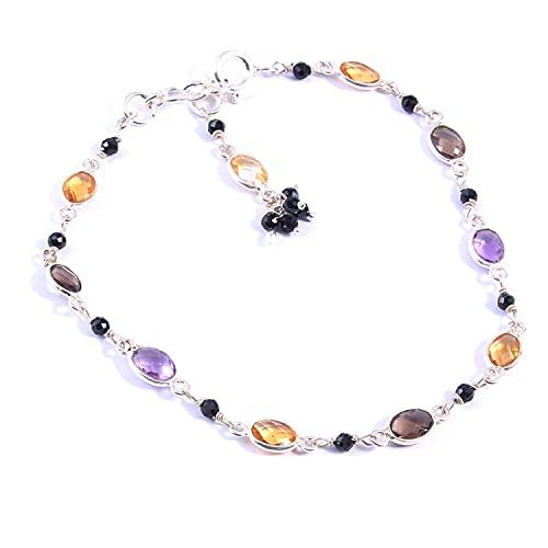 Ratnagarbha Multicolor Gemstone Bracelets, Gift Idea for Friends, Adjustable Silver Bracelet, Sterling Silver Bracelet, Semi-Precious Quartz Chain, Bezel Gemstone Bracelet, Fancy Bracelet