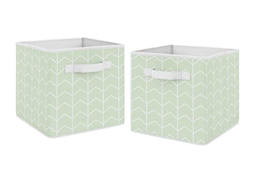 Sweet Jojo Designs Mint Green and White Chevron Arrow Foldable Fabric Storage Cube Bins Boxes Organizer Toys Kids Baby Childrens - Set of 2 - for The Watercolor Elephant Collection