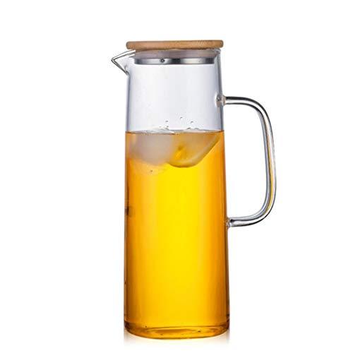Jarra de vidrio con tapa de bambú, alta resistencia al calor, botella segura para agua caliente/fría y té helado (tamaño: 1000 ml/33 onzas)