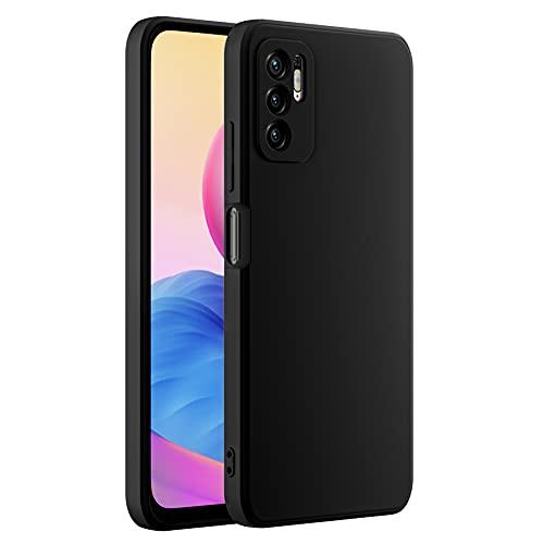 Cresee Funda de silicona compatible con Xiaomi Redmi Note 10 5G, con protección de cámara, interior de fibra, carcasa fina antiarañazos, antigolpes, color negro