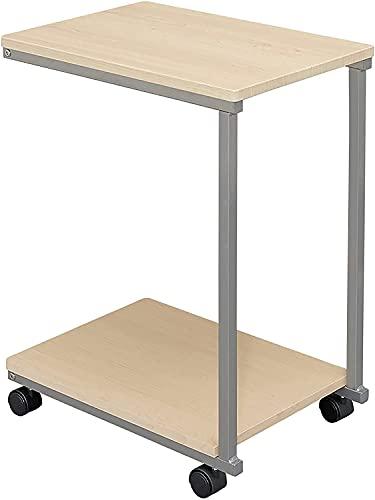 QIANMEI Mesa Auxiliar mesas Tabla Lateral de Forma C || Mesa de portátil para sofá/Cama con Ruedas | para Cama Sofá Hospital Hospital Lectura de Lectura