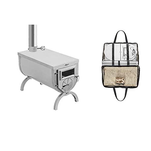 PaNt Estufa Portátil de Leña, Potencia de Fuego Ajustable con Chimenea Vidrio Visible Resistente a Altas Temperaturas Estufa de Tienda de Campaña Plegable Ultraligera de Acero Inoxidable