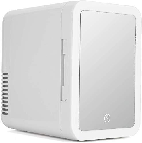 Mini refrigerador 5L refrigerador personal refrigerador eléctrico y calentador para productos para el cuidado de la piel en el hogar y en el almacenamiento de maquillaje de automóviles (espejo y diseñ