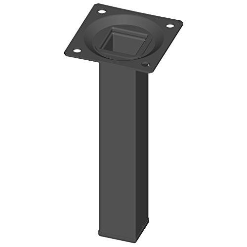 Element System 4 Stück Stahlrohrfüße eckig Tischbeine, Möbelfüße Inklusive Anschraubplatte, 4 Farben, 10 Abmessungen, 15 cm, schwarz, 18133-00290