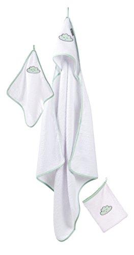 roba Handtuch Set \'Happy Cloud\', 3tlg, Baby Waschset, hochwertiges Frottee, Kapuzenhandtuch, Handtuch 30x30 cm, Waschlappen mit Wolke zum Baden und Pflegen