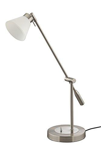Briloner Leuchten LED Tischleuchte 5 W, Glas weiß, Strahler und Arm verstellbar, matt-nickel 7564-012