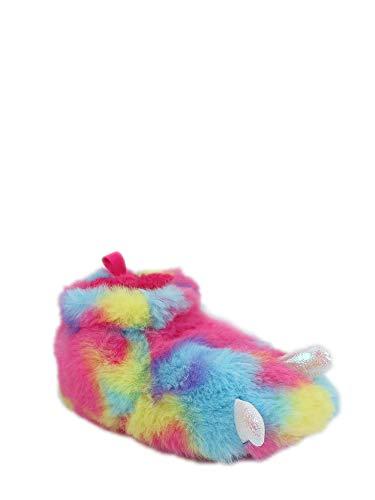 Wonder Nation Children/Kids/Baby/Boys/Girls Cute Warm Plush Dragon Claw | Dinosaur Foot Monster Claw Indoor House Fuzzy Slipper/Shoes Costume (Infant/Toddler/Little Kid) - Rainbow (4 Infant)