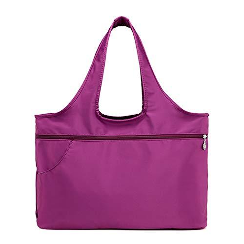 Bolsos De Nailon Para Mujer Bolsos De Hombro Con Múltiples Compartimentos Bolso Ligero Para Mamá Bolso Grande De Ocio(Size:44 * 16 * 30cm,Color:Púrpura)