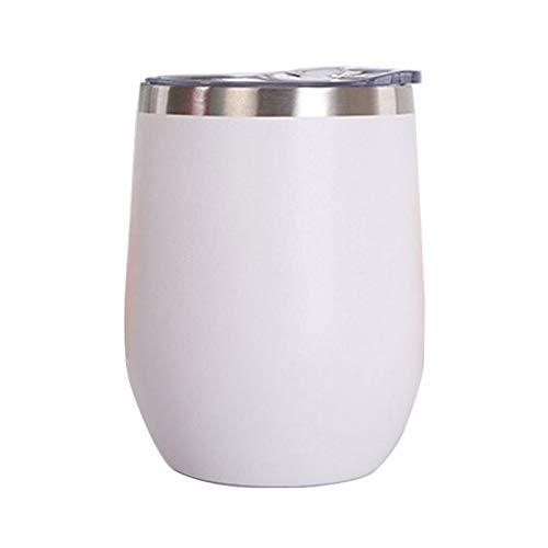Vaso de Agua de Acero Inoxidable con Tapa, 12 oz Vacío de Doble Pared Vacío Vacipador Copa para café, Vino, cócteles, Helado,Blanco