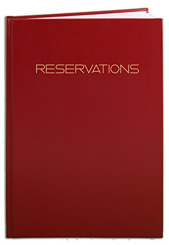 BookFactory Reservations Book, Restaurant Reservation Book, 365 Day Table Reservations, Dinner Reservations, 408 Pages, 8 7/8' x 13 1/2' Red Imitation Leather, Smyth Sewn Hardbound (LOG-408-OCS-A-LRT7