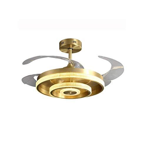 wangYUEQ -Chandeliers Fan Araña, Todas Las Salas de Estar de Cristal de Cobre Araña Invisible Fan Light LED Dormitorio Luz de Dormitorio