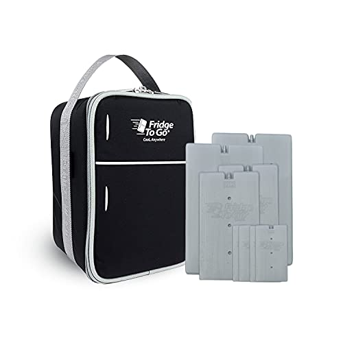 Fridge-To-Go Insulated Lunch Box with Cooling Panels   Portable Cooler Lunch Bag Perfect for Frozen Food, Outdoor Activities, Medicine, Milk Storage - (Black)