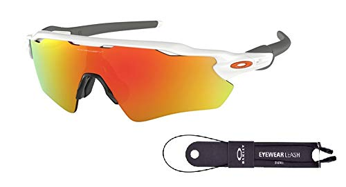 Oakley Radar EV Path OO9208 920816 38M Polished White/Fire Iridium Sunglasses For Men+BUNDLE with Oakley Accessory Leash Kit