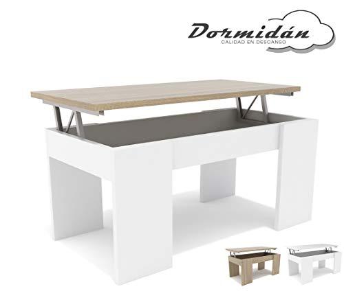 Dormidan- Mesa de Centro elevable, Comedor o Auxiliar, Mayor Grosor y Estabilidad (Blanco Tapa Roble) …