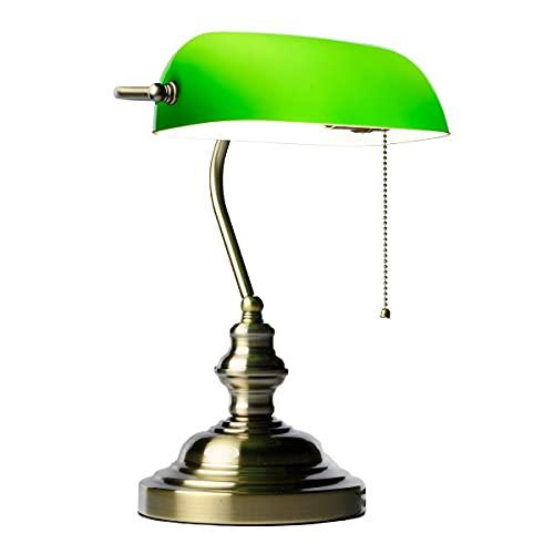 SPECILIGHTS Bankerlampe Grün, Schreibtisch-Lampe mit Zugschalter im Kolonialstil, Arbeitsplatzleuchte mit grünem Lampenschirm, Bürolampe 36x26cm, 150cm Kabellänge