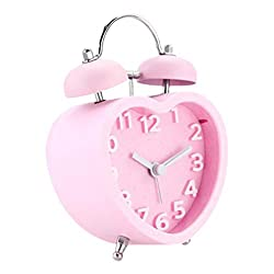 Mouykoery 3-Inches Heart Shaped ABS Alarm Clock with Arabic Numerals,Non-Ticking Silent,Nightlight,Battery Operated,Twin Bell