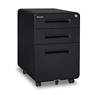Bonnlo Round Corner Mobile File Cabinet with Lock