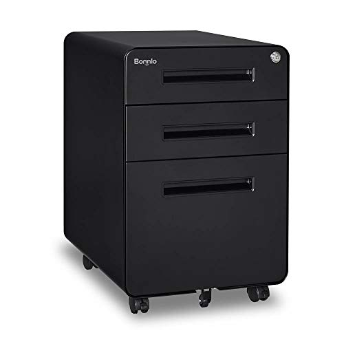 Bonnlo Black 3 Drawer Rolling File Cabinet with Lock, Metal File Cabinet for Home&Office, Fully Assembled Except Wheels