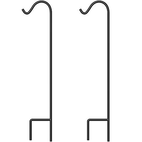 BEAU JARDIN 2 Pack Shepherd Hook 48 inch 2/5 inch Thick Premium Heavy Duty Rust Resistant Garden Outdoor Hanging Plants Basket Hanger Pathway Light Solar Lantern Mason Jar Wind Chimes Wedding Black