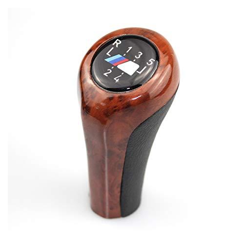 Iinger Mando del Cambio De Engranaje De Grano De Madera Ajuste para BMW 1 3 5 6 Series E30 E32 E34 E36 E38 E39 E46 E53 E60 E61 E63 E81 E82 E83 E84 E87 E90 Carbon (Color Name : 5 Speed with M)