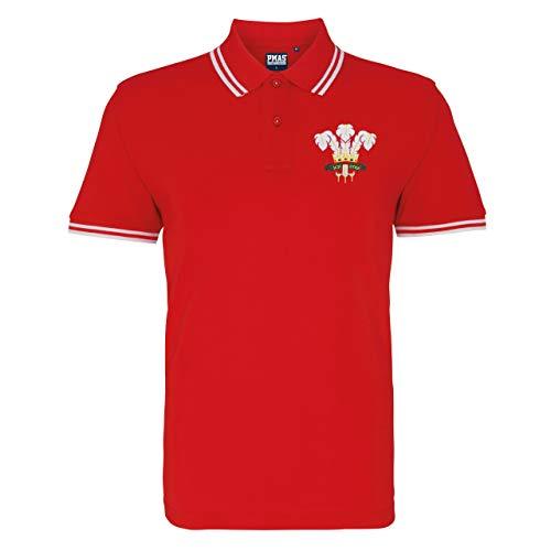 Polo classique brodé du Pays de Galles Cymru Rugby pour homme - Rouge - XXX-Large