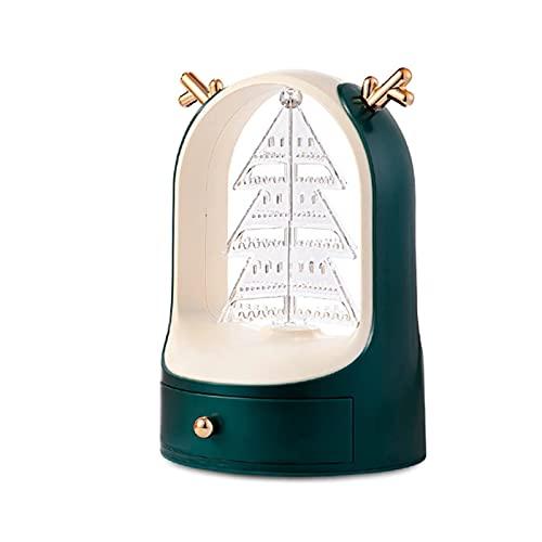 YIXINHUI Cajas de joyería Jewellry Storage Caja para niña y Mujeres Bebe de exhibición de Rack de Almacenamiento Giratorio Incorporado para Collar, Anillo, Pendientes (Color : Green)