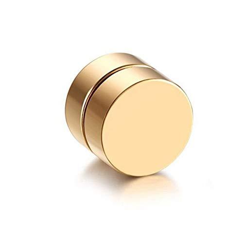 QLJ Pendientes de Clip magnéticos magnéticos con imán de Moda Vintage para Hombre, Pendientes Falsos para Novio, Amante, Oro, 8mm